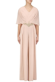 Blush Pink Embroidered Draped Jumpsuit by Seema Thukral