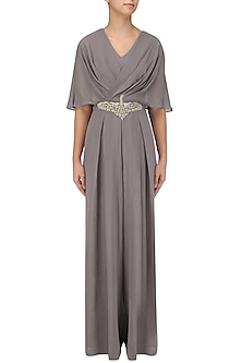 Grey Embroidered Draped Jumpsuit by Seema Thukral