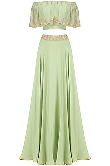 Mint Embroidered Off Shoulder Croptop with Circular Skirt