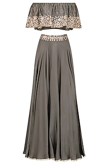 Grey Embroidered Off Shoulder Croptop with Circular Skirt