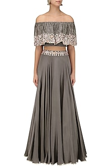 Grey Embroidered Off Shoulder Croptop with Circular Skirt by Seema Thukral