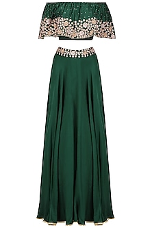 Bottle Green Embroidered Off Shoulder Croptop with Circular Skirt