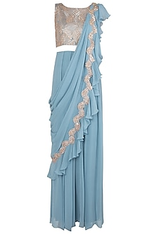 Stone Blue Embellished Jumpsuit Saree
