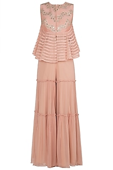 Peach Embellished Peplum Top With Palazzo Pants
