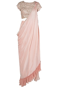 Peach Embellished Blouse With Attached Saree Drape and Palazzo Pants