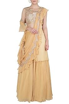 Yellow Embellished Lehenga Set by Shruti Ranka