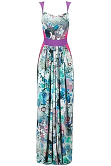 Blue Floral Printed Panelled Gown