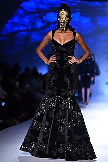 Black Floral Patchwork Fishcut Gown