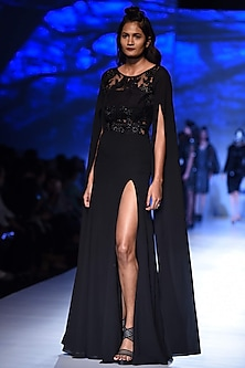 Black Floral Patchwork Fit and Flared High Slit Gon by Siddartha Tytler