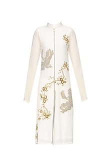 Ivory Floral Beads Embroidered Straight Kurta