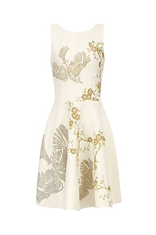 Ivory and Gold Floral Embroidered Fit and Flared Dress