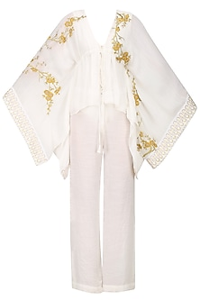 Ivory and Gold Gold Cherry Blossoms Kaftan Top by Siddartha Tytler