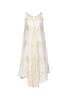 Ivory and Gold Asymmetric Panelled Dress by Siddartha Tytler