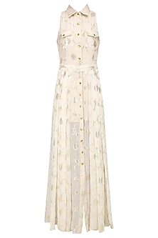 Ivory and Gold Motifs Collared Maxi Dress by Siddartha Tytler