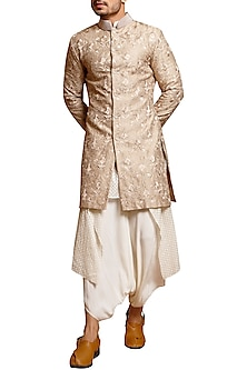 Beige Embroidered Pearl Collared Sherwani by Siddartha Tytler Men