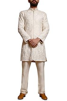 Ivory Embellished Sherwani Set by Siddartha Tytler Men