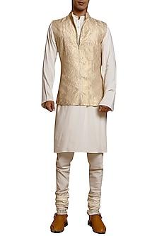Light Gold Laser Strip Worked Waistcoat by Siddartha Tytler Men