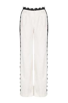 Ivory lace trim pants