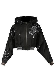 Black sequined crop jacket