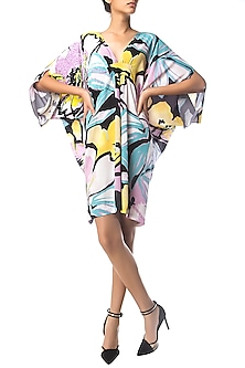 Multi-Colour Floral Print Sequins Kaftan