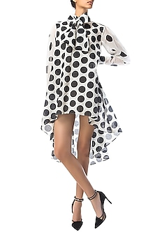 Black and White High-Low Polka Dotted Dress