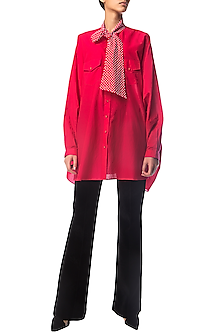 Fuchsia Pink Oversized Shirt Dress with Crystal Bow by Siddartha Tytler