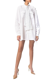 White Oversized Shirt Dress with Polka Dotted Crystal Bow