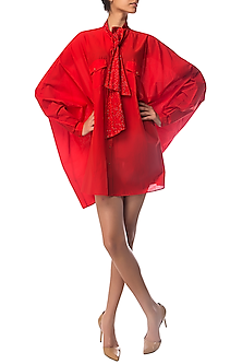 Red Oversized Shirt Dress with Polka Dotted Crystal Bow by Siddartha Tytler
