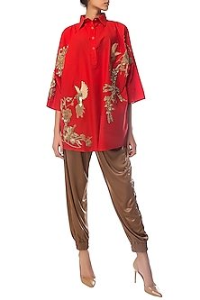 Red Oversized Embroidered Shirt Dress