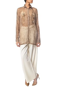 Beige Textured Oversized Shirt with Bird Motifs by Siddartha Tytler