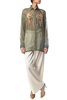 Olive Textured Oversized Shirt with Bird Motifs