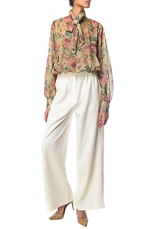 Multi Color Floral Printed Top by Siddartha Tytler