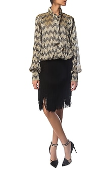 Black and Golden Shimmer Top with Chevron Print by Siddartha Tytler