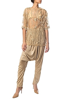 Golden Sheer Embroidered Top