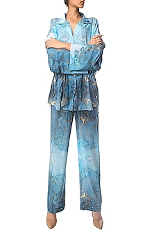 Navy Blue and Turquoise Digital Printed Shirt and Wide Leg Pants