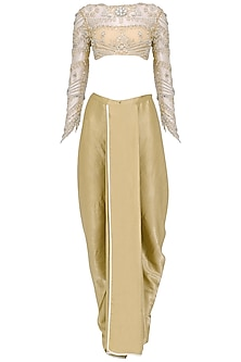 Nude Embroidered Blouse with Dhoti Pants Set