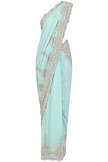 Blue Crystal Embroidered Saree with Blouse