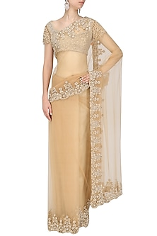 Beige Embroidered Saree and Blouse Set by Siddartha Tytler