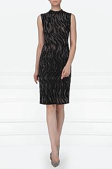 Black Embellished Knee Length Dress by Siddartha Tytler