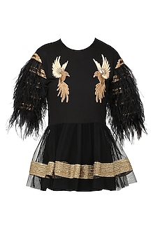 Black Bird Motifs Embellished Peplum Top