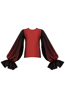 Red To Black Ombre Balloon Sleeves Top