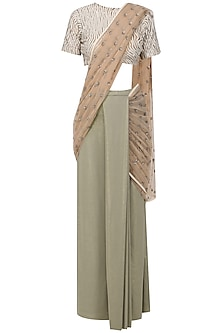 Grey and Gold Pre-Stitched Saree with Embellished Blouse