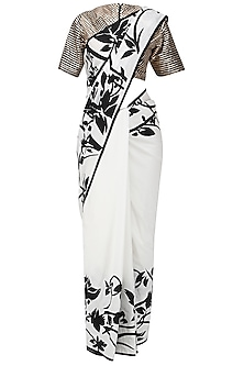 Black and White Applique Work Saree with Embroidered Blouse