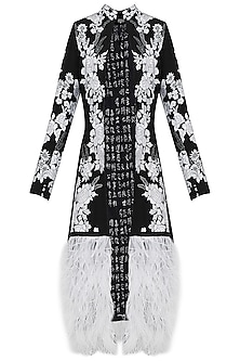 Black and White Embroidered Ostrich Feather Jacket by Siddartha Tytler