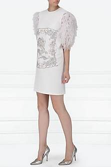 White Embellished Ostrich Feather Dress by Siddartha Tytler