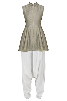 Grey Front Open Short Kurta with White Dhoti Pants Set