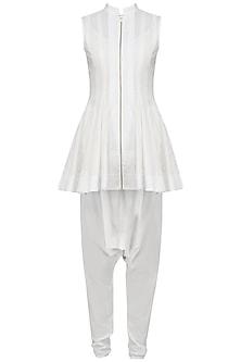 White Front Open Short Kurta with Dhoti Pants Set