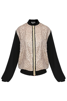 Black Gota Patti Embellished Bomber Jacket
