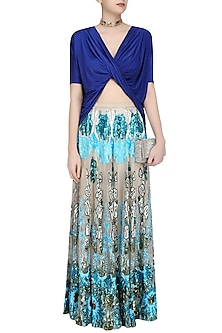 Blue Drape Top and Sequinned Flared Skirt Set by Siddartha Tytler