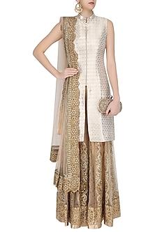 31cbf691eb3 Gold brocade jacket kurta and sharara pants set available only at ...